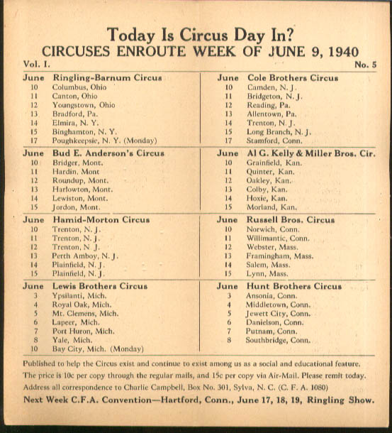 Image for Today is Circus Day Consolidated Route Card #5 6/9 1940 Ringling Bros et al