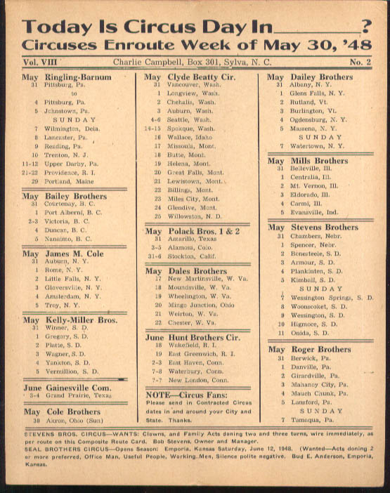 Image for Today is Circus Day Consolidated Route Card #2 5/30 1948 Ringling Bros et al