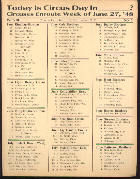 Image for Today is Circus Day Consolidated Route Card #5 6/27 1948 Ringling Bros et al