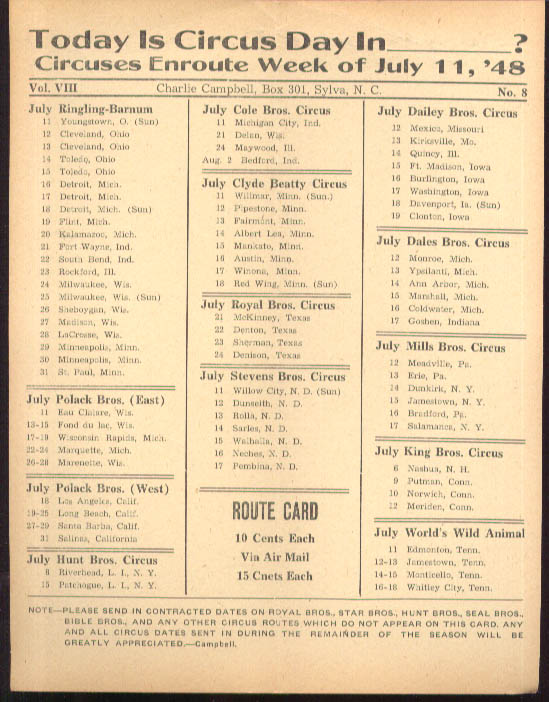 Image for Today is Circus Day Consolidated Route Card #8 7/11 1948 Ringling Bros et al