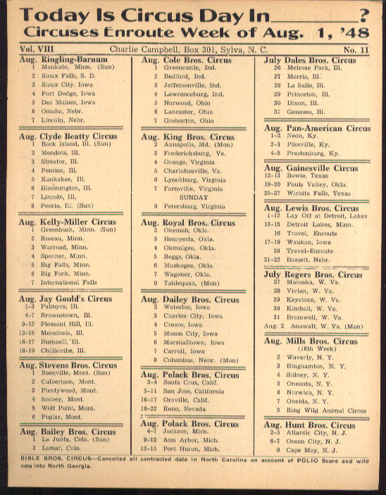 Image for Today is Circus Day Consolidated Route Card #11 8/1 1948 Ringling Bros et al
