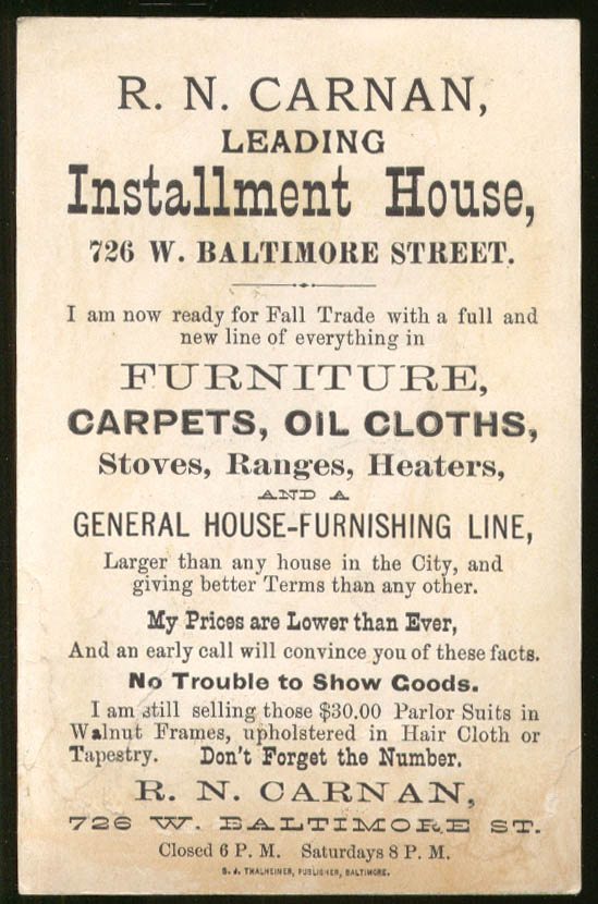Image for R N Carnan Furniture Stoves Baltimore MD trade card 1880s