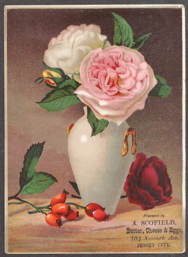 A Scofield Butter Eggs & Cheese Jersey City NJ trade card roses in vase 1880s