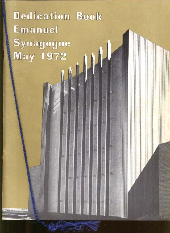 Emanuel Synagogue Dedication Program May 1972 W Hartford CT