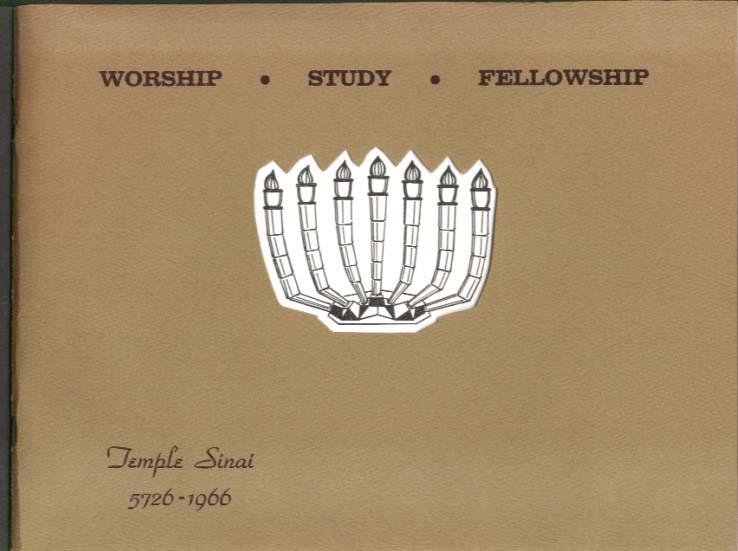 Temple Sinai Newington CT School Wing Social Hall Dedication program 1966
