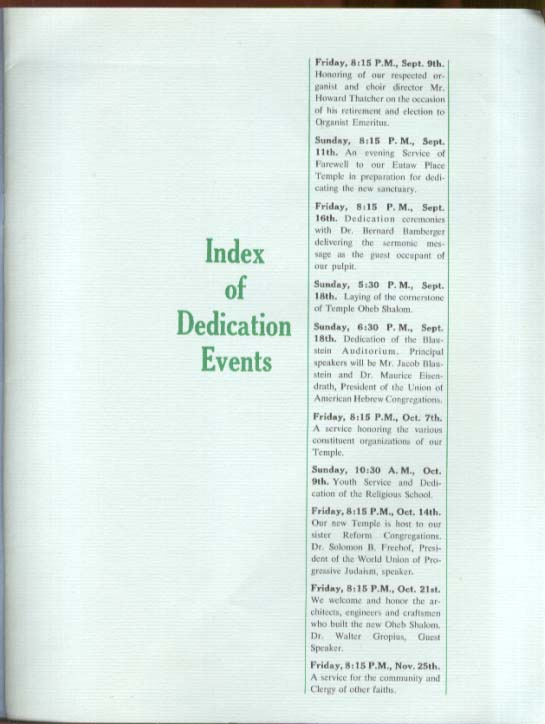 Temple Oheb Shalom Dedication Guidebook Baltimore MD 1960