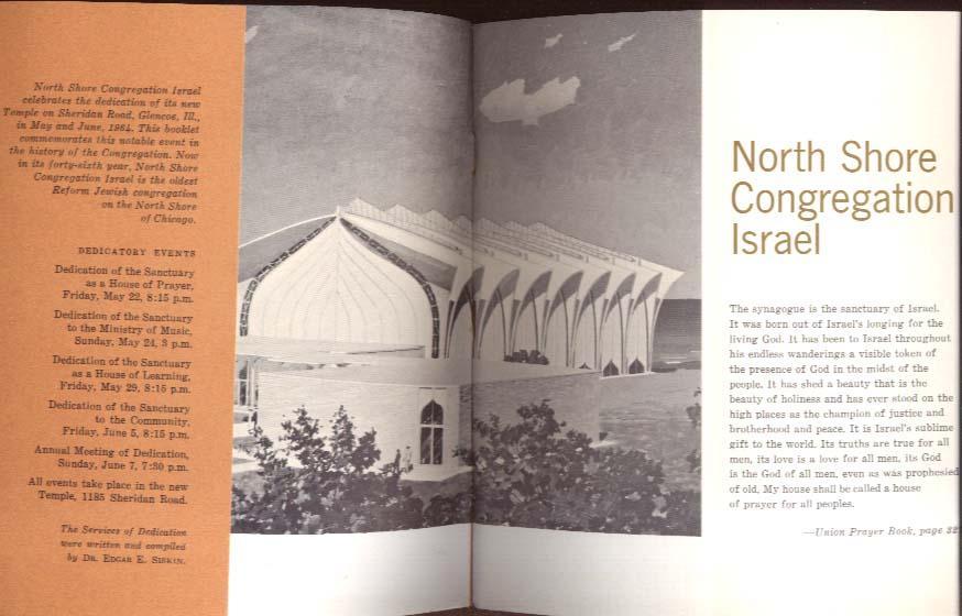 North Shore Congregation Israel Glencoie IL Dedication Program 1964