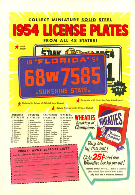 Wheaties Cereal License Plate Nevada 1954