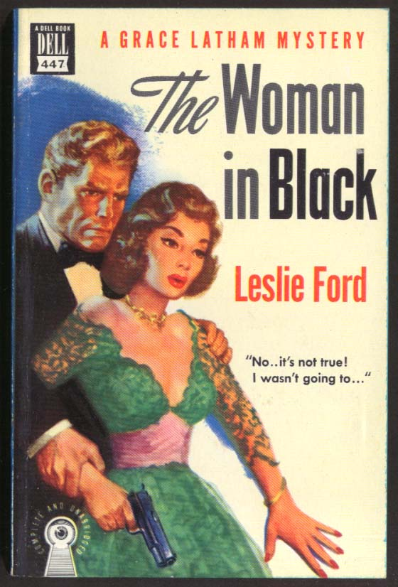 Leslie Ford: The Woman in Black Dell Mapback #447 GGA cleavage .45 automatic