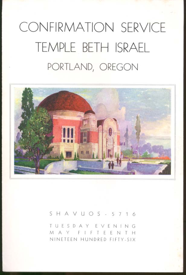 Temple Beth Israel Confirmation Program Portland OR 1956
