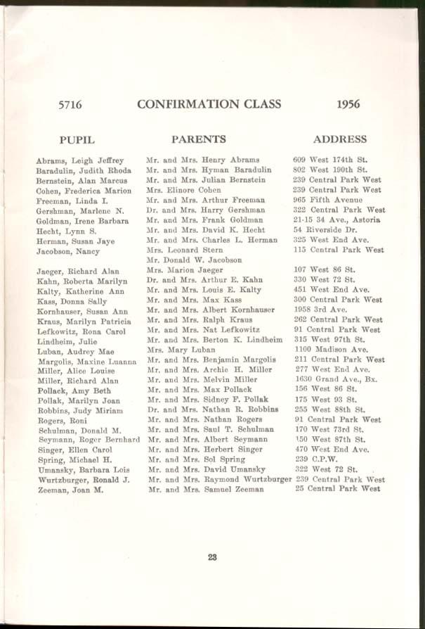 Congregation Rodeph Sholom Confirmation Program New York City 1956