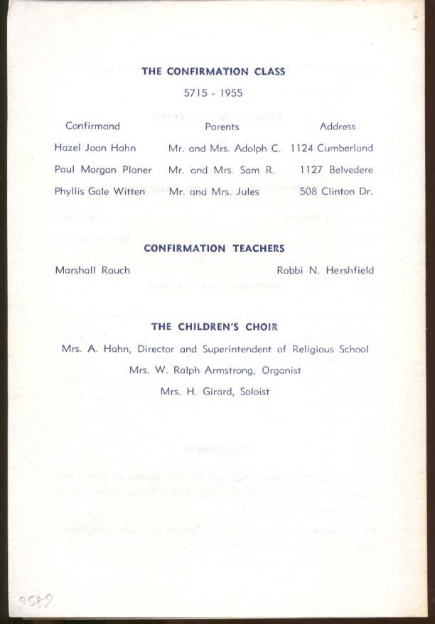 Temple Emanuel Gastonia NC Confirmation program 1955 w/ invitation