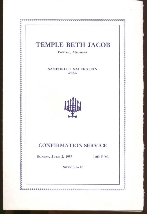 Temple Beth Jacob Confirmation Program Pontiac MI 1957