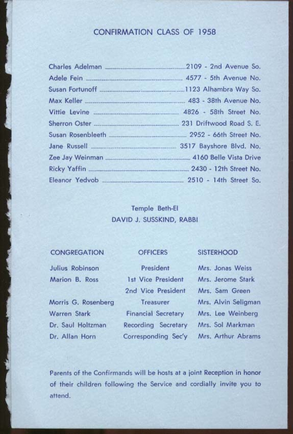 Temple Beth-El Confirmation Program St Petersburg FL 1958