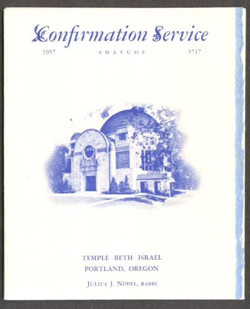 Temple Beth Israel Portland OR Confirmation Program 1957