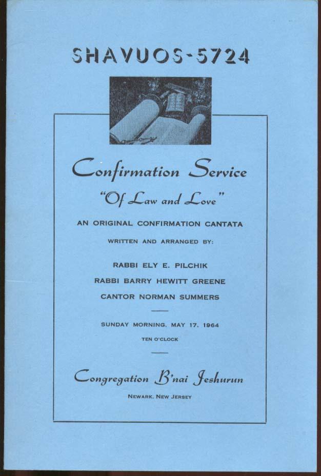 Congregation B'nai Jeshurun Newark NJ Confirmation Program 1964