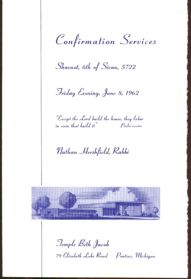 Temple Beth Jacob Confirmation Program Pontiac MI 1962