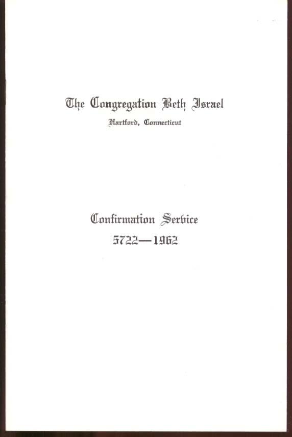 Congregation Beth Israel Hartford CT Confirmation Program 1962