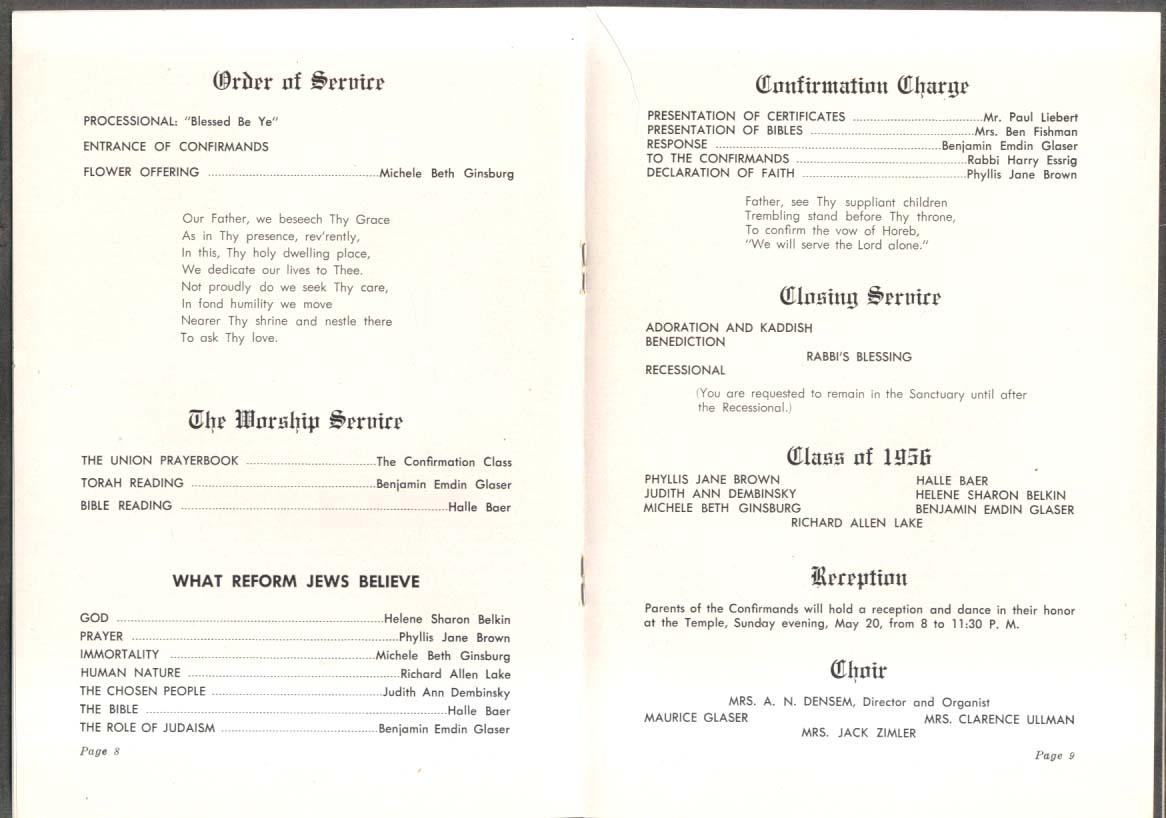 Temple Emanuel Grand Rapids MI Confirmation Program 1956