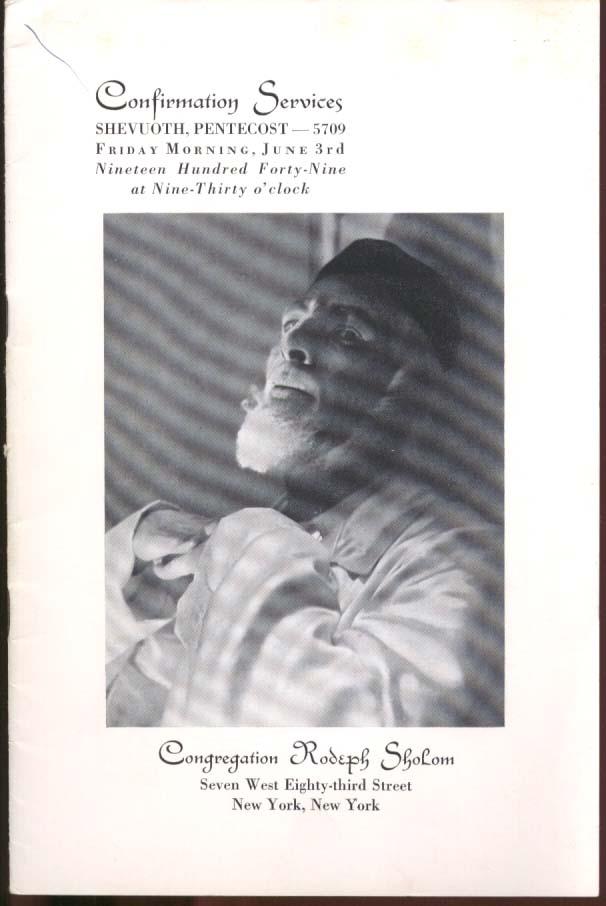Congregation Rodeph Sholom Confirmation Program New York City 1949