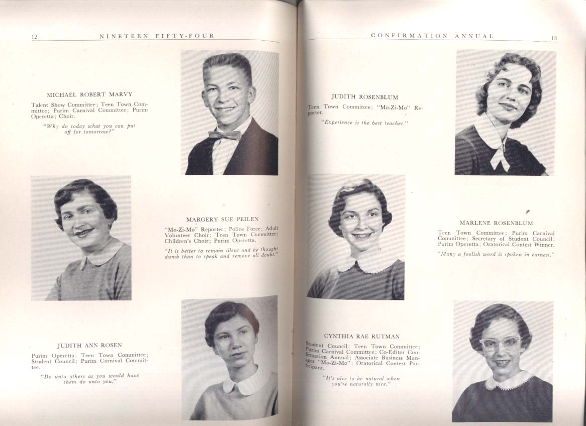Mount Zion Temple St Paul MN Confirmation Annual 1954