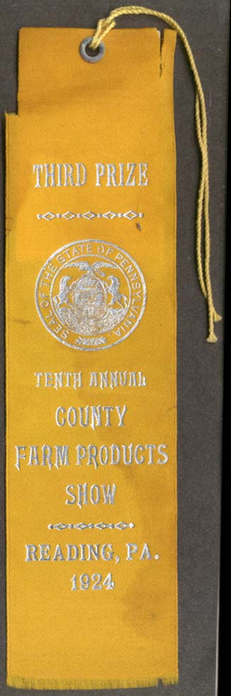 10th Country Farm Products Show Third Prize Ribbon Reading PA 1924