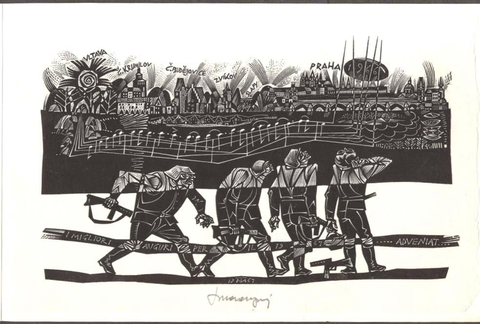 Tranquillo Marangoni SIGNED wood engraving Prague 1966 printed 1967