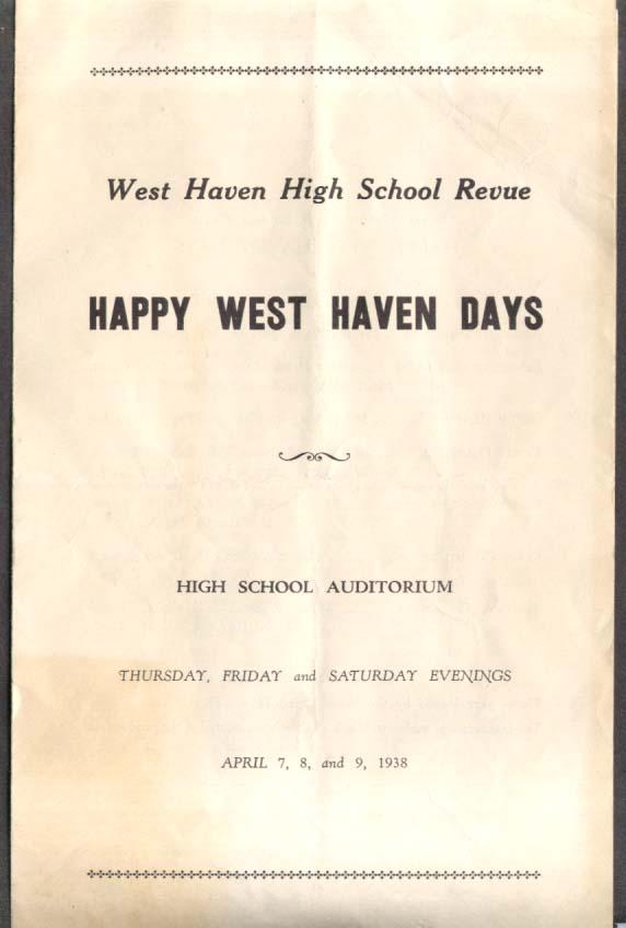 Happy West Haven Days W Haven High Revue program 1938 CT