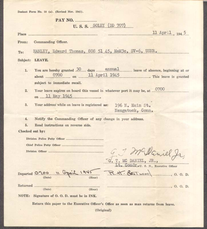 USS Soley DD-707 30-day Leave document 11 April 1945