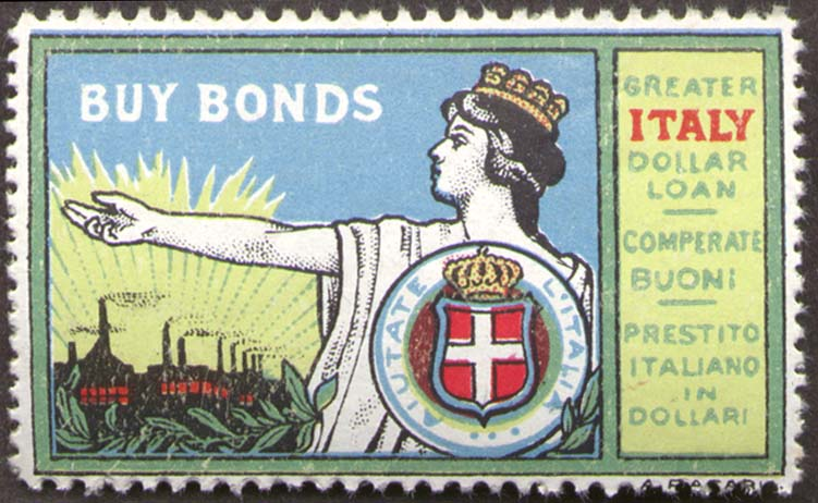 Greater Italy Dollar Loan Buy Bonds Cinderella stamp ca 1917 World War I