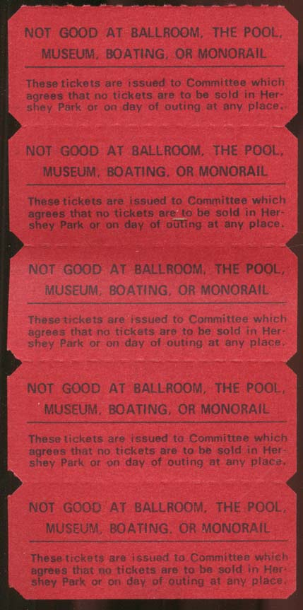 Hershey Park Special Amusement Ticket strip of five 5 cent tickets ca 1950s