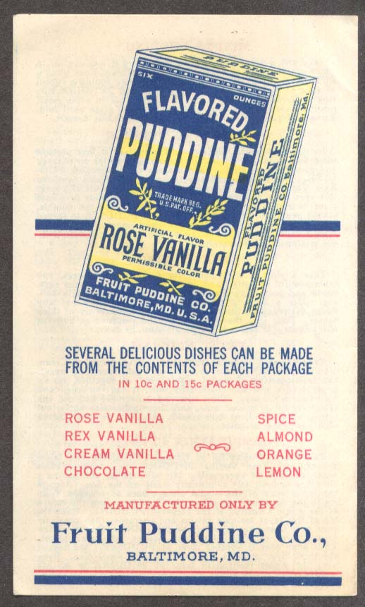 Fruit Puddine Dessert Mix recipe folder Baltimore MD ca 1910