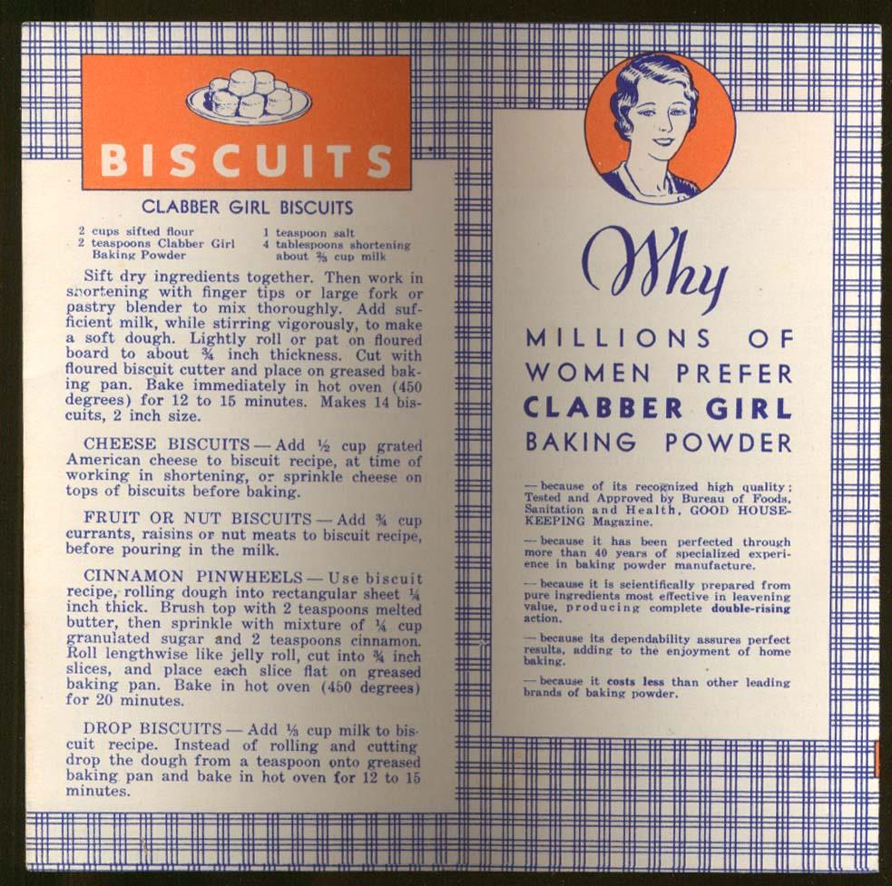 Clabber Girl Baking Powder Recipe folder ca 1930s