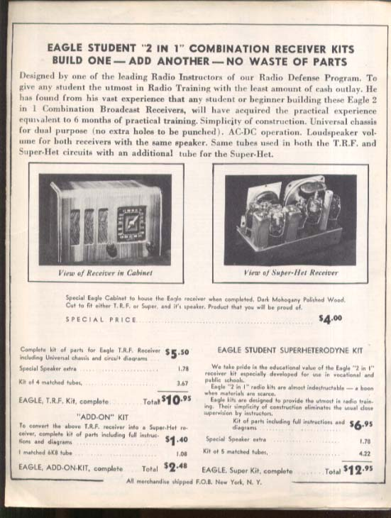 Eagle Student 2 in 1 Combination Radio Receiver Build Sheet & Schematic 1930s