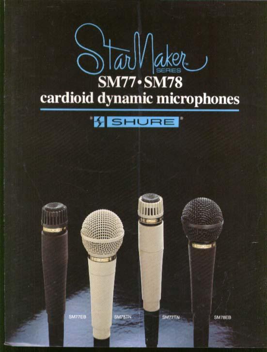 Shure StarMaker SM77 SM78 Cardioid Microphone brochure 1970s