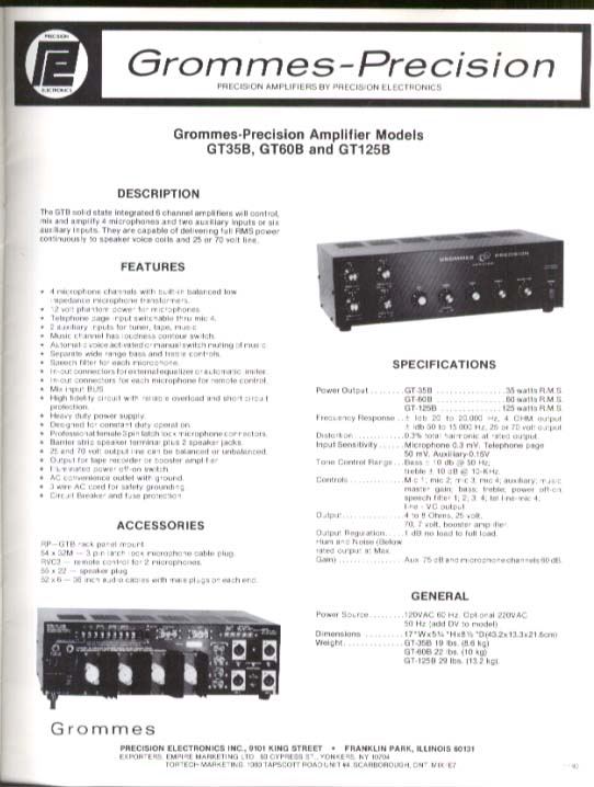 Grommes-Precision Sound Equipment Catalog 1990