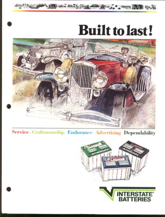 Interstate Batteries Built to Last! Dealer Sales brochure folder 1986