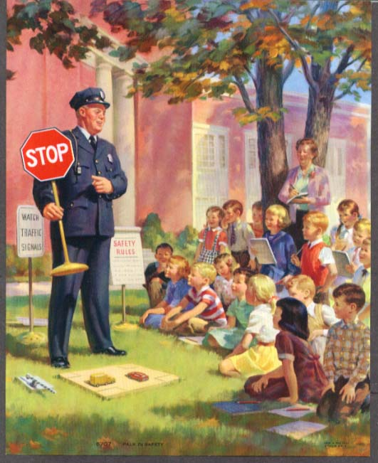 Pals in Safety: Cop explains rules to school class calendar sample pic 1957