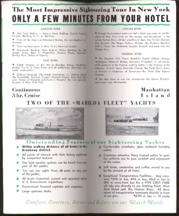 Marilda Line Manhattan Yacht Cruises New York City folder 1940