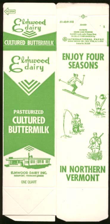 Elmwood Dairy Cultured Buttermilk unused quart carton Newport VT 1960s