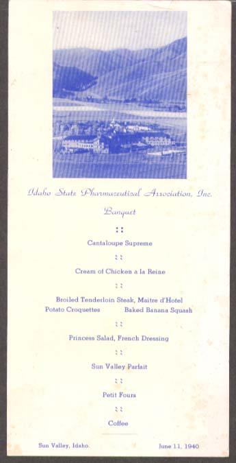 Idaho State Pharmeceutical Association Banquet Menu card Sun Valley 1940