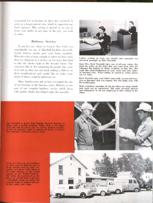 Marshall's Marshall Brothers Hatchery Ithaca NY brochure ca 1951 poultry chicken
