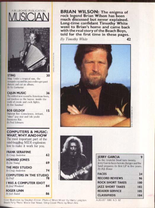 Brian Wilson Sting Cajun Music Geldof Jerry Garcia MUSICIAN 8 1985