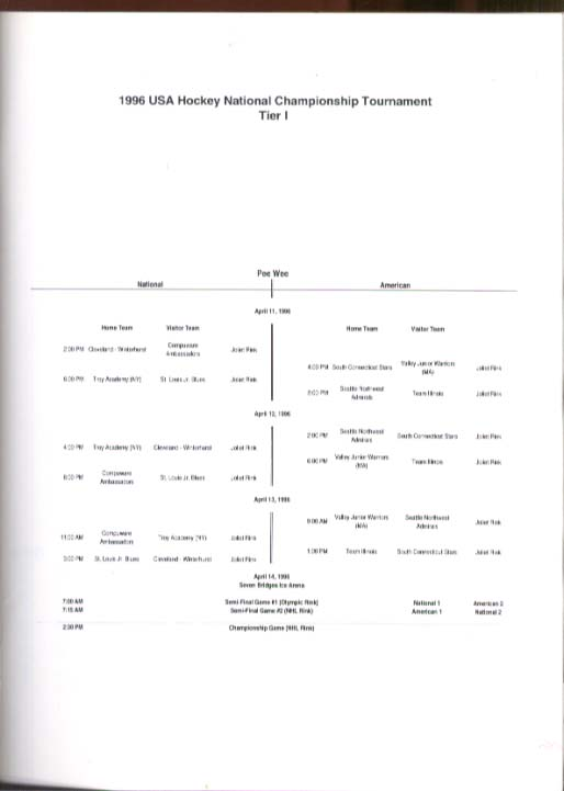 Image for USA Hockey National Championship Program Tier I Chicago 1996