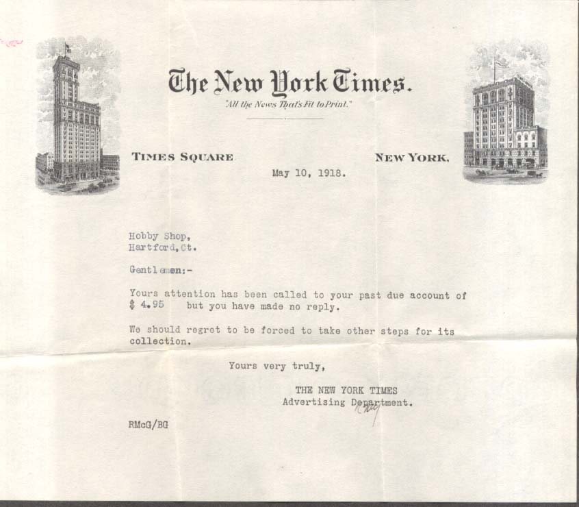 New York Times dunning letter to a Hartford CT bookseller 1918