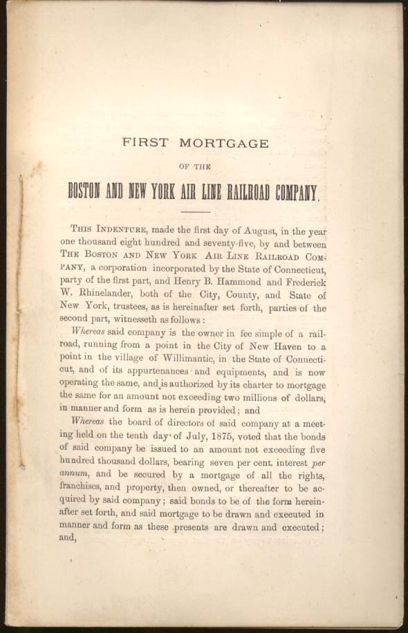 First Mortgage of the Boston & New York Air Line Railroad Company 1875