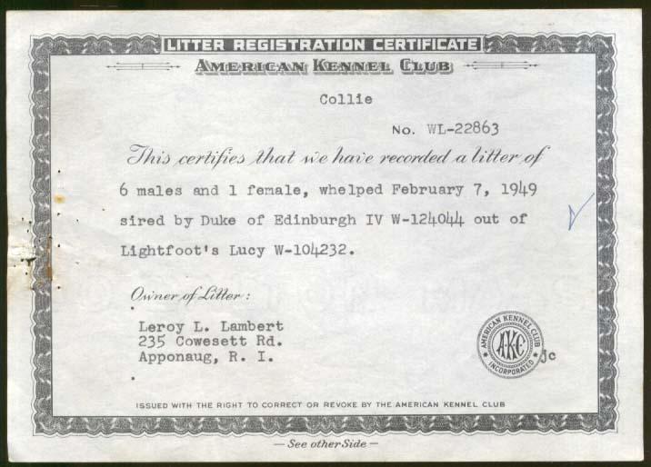 AKC Collie Litter Registration Duke Edinburgh Lightfoot's Lucy Apponaug RI 1949