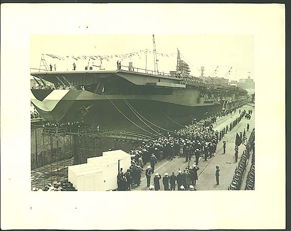 "Midway Class Aircraft Carrier commissioning ceremony 11x14"" photograph ca 1940s"