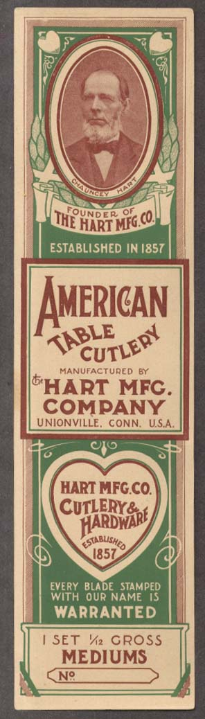 Hart Mfg Co American Table Cutlery unused box label Unionville CT ca 1900