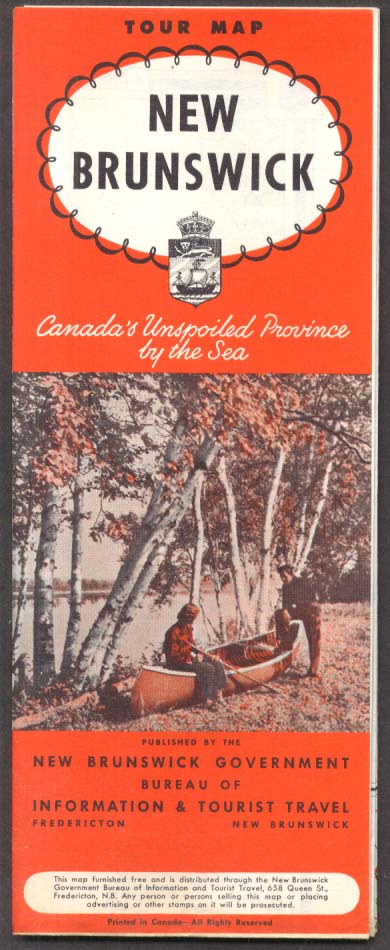 New Brunswick Canada Official Road Map 1951